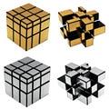 3x3x3 Juguetes Rompecabezas Profesional Cubo Mágico de Tres Capas Cubo Desafío Regalos Espejo Cubos De Juguetes para los niños oro y Plata Colores