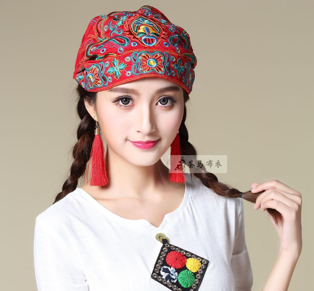 Cheshanf vintage Ethnic   Skullies     Beanies   for Women Autumn Winter Mexico Style Original Designer Embroidery Hat   Beanies