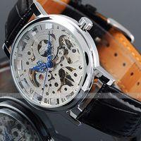 Winnaar Skeleton Horloge Blauwe Handen Speciale Ontwerp Romeinse Aantal Analoge Mannen Horloges Topmerk Luxe Mannen Mechanische Horloge Erkek Saat