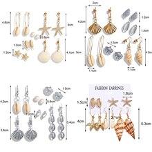 Fashion metal shell design dangle earrings gold starfish conch fringe drop earrings jewelry  summer gift for women girls female charm fringe design drop earrings