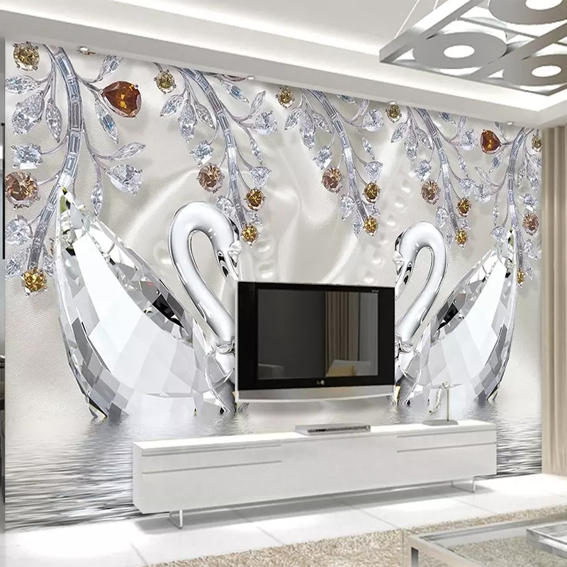 Custom Wall Mural Crystal Diamond Swan Lake Romantic Aesthetic Jewelry Art Mural Living Room TV Background Wall Cloth Home Decor