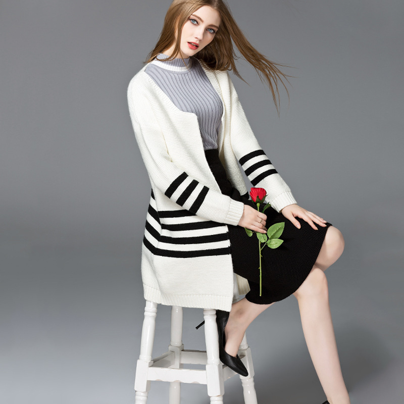 Autumn Winter Women Cardigan Long Sweaters Outwear Striped Crochet Knitted Sweater Coat Female Casual Loose Knitted Coat 7620763