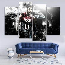 Kyrie Irving Basketball Player Painting 4 Piece Modular Style Picture Modern Canvas Print Type Home Decor Wall Artwork Poster