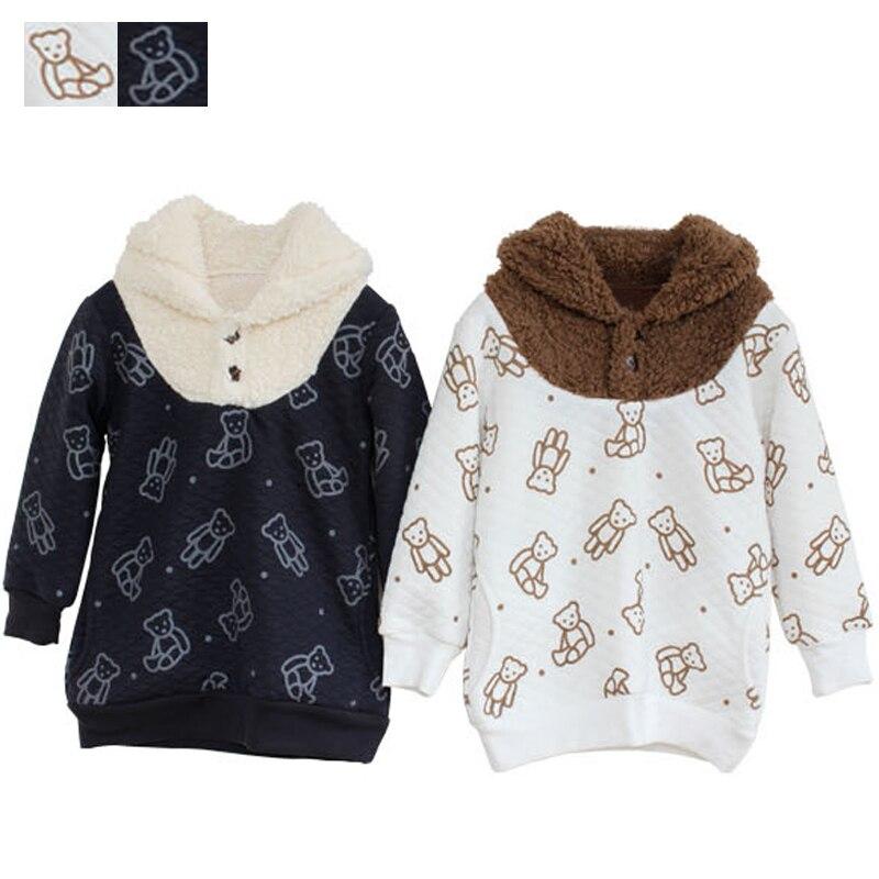 Свитер с капюшоном для мальчиков и девочек из хлопка и бархата детские свитшоты с нарисованным медведем зимняя верхняя одежда для мальчико