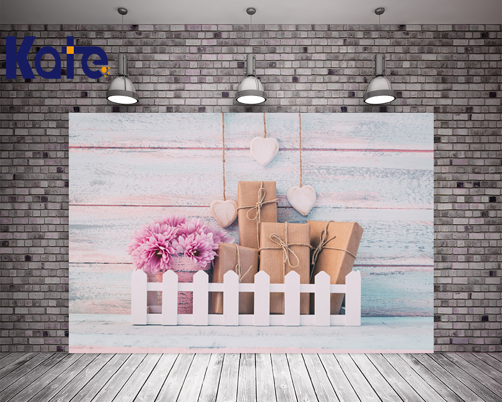 KATE 5x7ft Photo Background Happy Mother's Day Photo Light Wooden Wall Backdrop Kids Flower and Box Background for Photo Studio kate 5x7ft photo background scenery