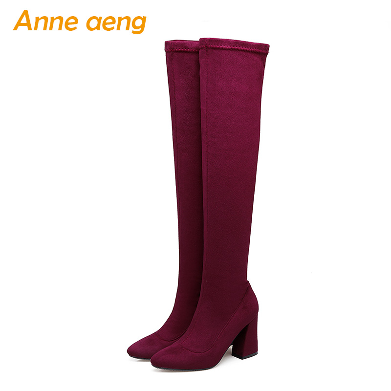 2018 New Winter Women Over-The-Knee Boots High Heel Pointed Toe Sexy Ladies Women Shoes Red Black Long Thigh High Boots Big Size good news bible