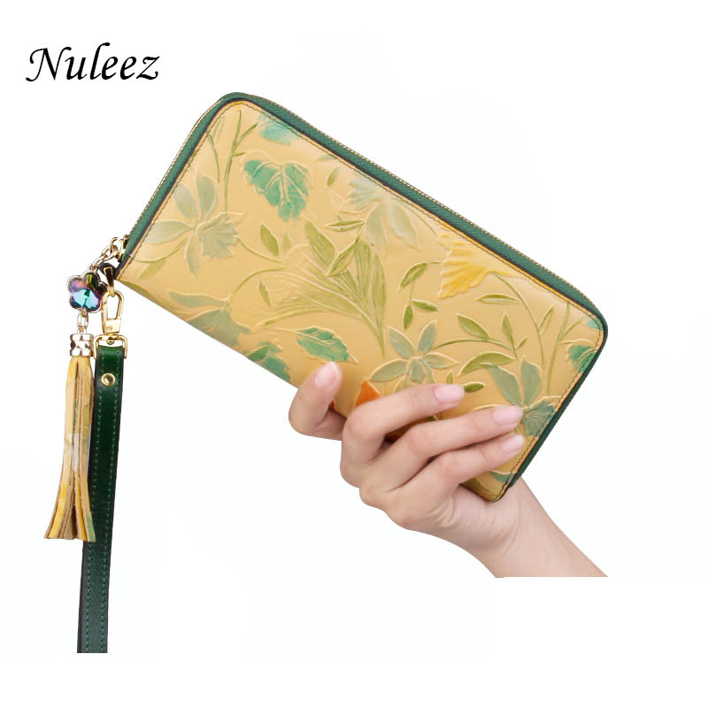 Nuleez genuine cow leather wallet women high quality luxury hand carving floral Chinese style delicate 2018