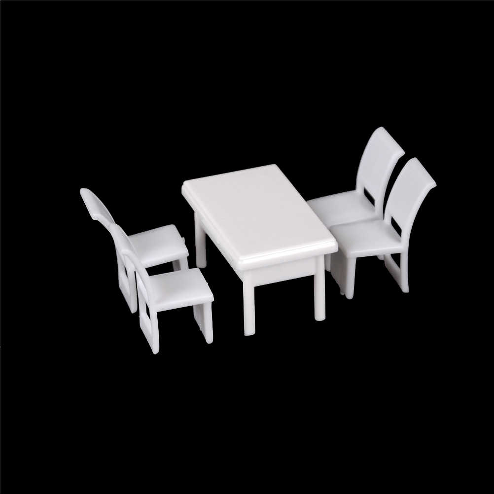 5Pcs/set 1:50 Furniture Toys Dining Chair Table Furniture Set For Doll house Dollhouse Kitchen Food Miniature