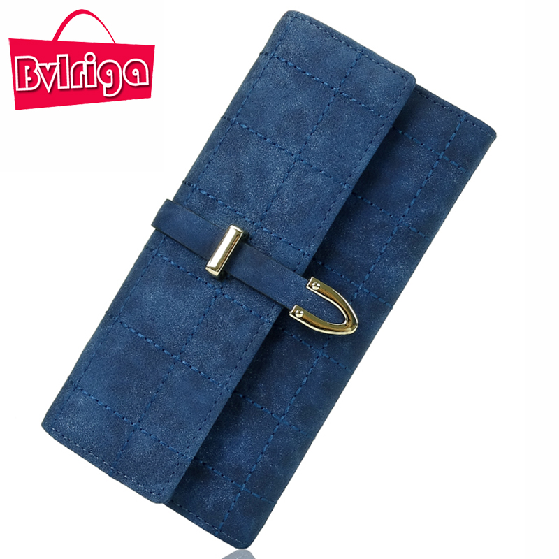 BVLRIGA Brand Plaid Nubuck Leather Female Wallet Women Purse Coin Credit Card Holder Business Travel Lady Clutch Bag Organizer baellerry double zipper women business card holder wallet oil wax leather purse female name bank credit cards driver license bag