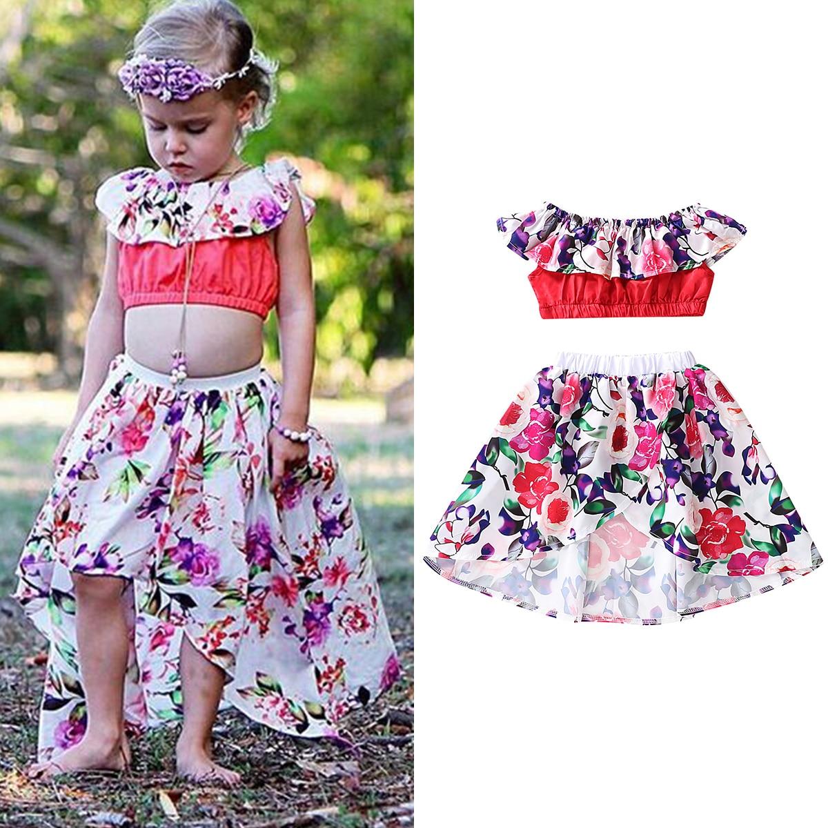 Kids Girl 2PCS Boutique Flower Off Shoulder Top Dress Skirt Pants Clothes Outfit