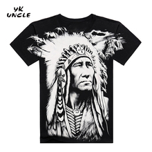 Free shipping 2016 Famous Brand Design Fashion Mens Indians Print T shirts New Summer Loose Casual Cotton T shirts,YK UNCLE