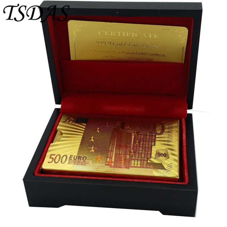 gold foil poker set colored euro 500 style custom plastic playing cards with wooden box nice - Poker Sets
