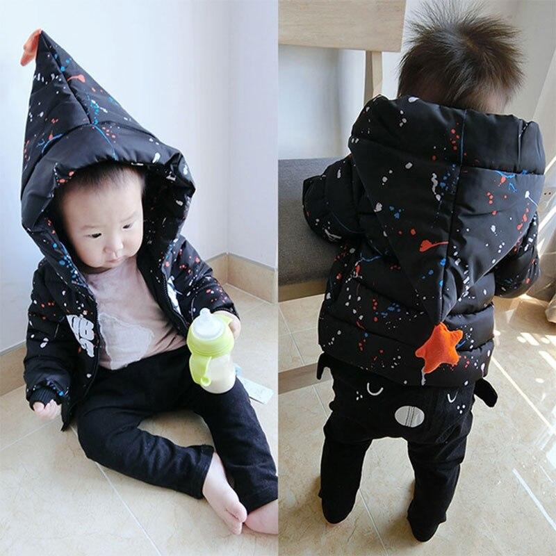 2017 осень-зима хлопок куртка с капюшоном Комбинезоны для девочек для новорожденных Для маленьких мальчиков модная верхняя одежда детское па...