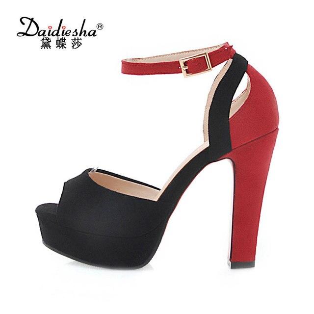 4dc709045f6a3d Daidiesha Women s Summer Sandals Peep Toe Platform Shoes Ladies Ankle  Strappy Heels 12 cm Pencil Heel Girl s Party Wear Shoes