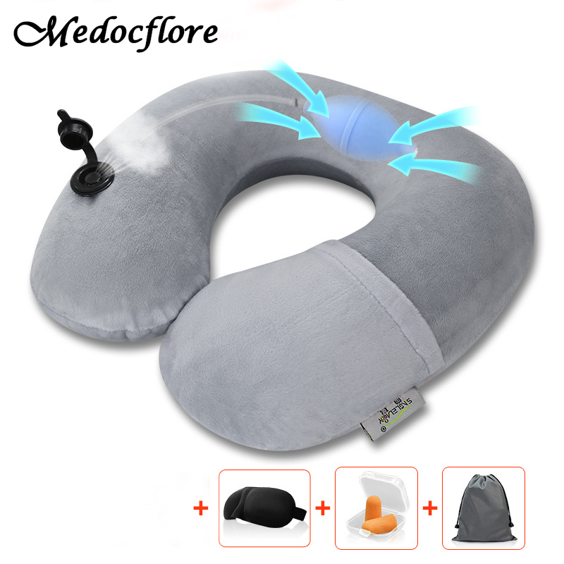 Inflatable Pillow for Sleep in Airplane Neck U Neck Pillow for Nap Sleep Home With Eye Mask&Earplugs neck support nap pillow