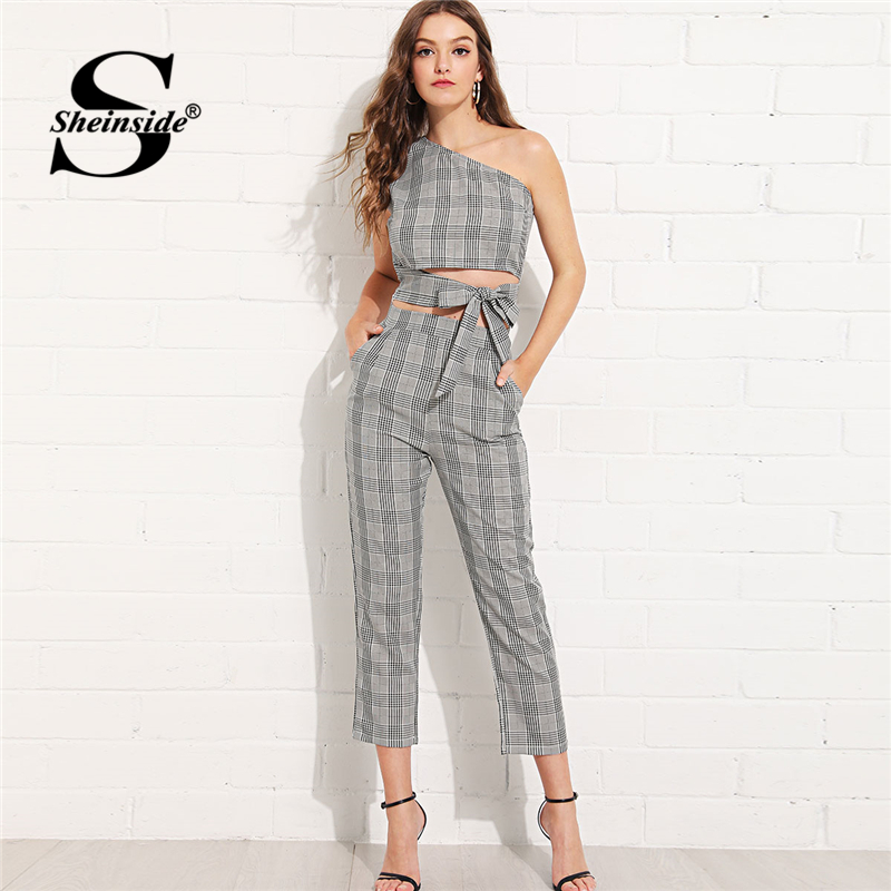 bfb2165ad8 Sheinside Plaid Print Casual One Shoulder Knot Top And Pants Set Women 2019  Summer Elegant Workwear