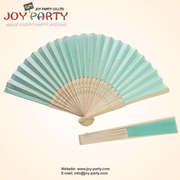 10 Pcs Lot 21cm Light Blue Tiffany Silk Hand Fan Fabric
