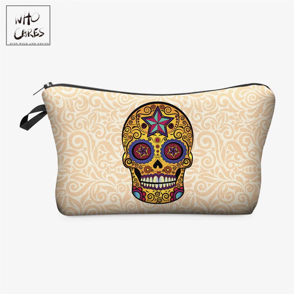Who Cares Fashion Mexican Skull 3D Printing Makeup Bags Cosmetics Pouchs For Travel Ladies Pouch Women Cosmetic Bag