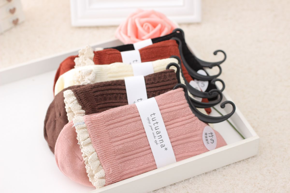 10pair/lot Anyongzu Sock Natural Color Candy Colored Bamboo Fiber Socks Double Needle Making Lace Confinement 23cm-25cm mix