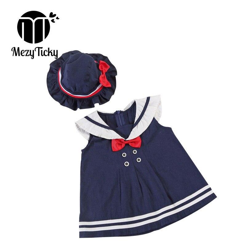 Verão estilo marinho vestido da menina + chapéu 2 pçs do bebê roupas de algodão marinheiro criança bonito vestido de princesa crianças colarinho arco mini vestidos