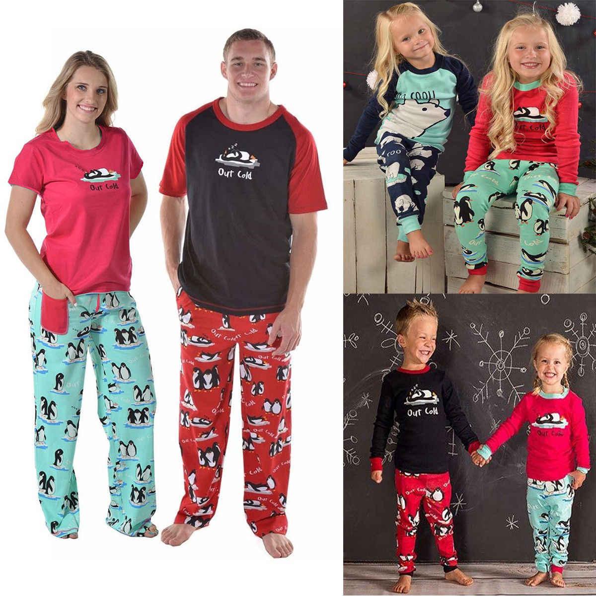 ... New Family Matching Women Kids Christmas Pyjamas Xmas Nightwear Pajamas  PJs Sets Cute Penguin Outfits ... 9297fb4e7