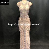 BU294 Women Sexy Net Yarn Long Skirt Sleeveless Red Gold Silver Sparkling Crystals Nightclub Party Banquet Stage Bling Costumes