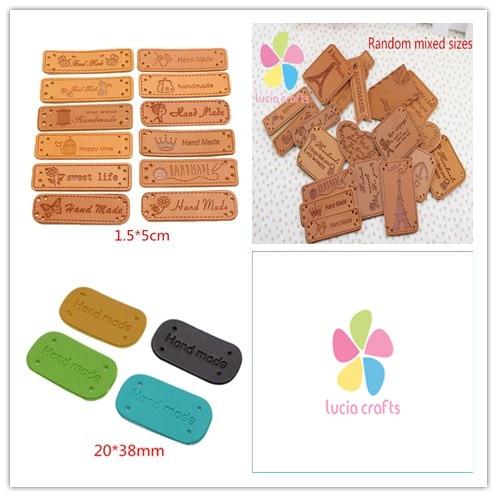 Random mixed styles leather decoration label indentation for Random diys
