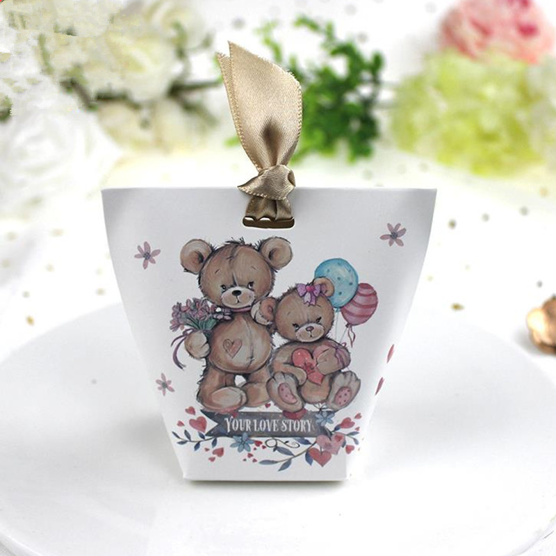 Christmas Gift Packing: Cartoon Bear Paper Box Wedding Favors Gifts Decoration