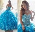 Elegante 2016 vestido de quinceanera puffy princesa con volantes vestido de novia abalorios quinceanera vestidos nuevo diseño