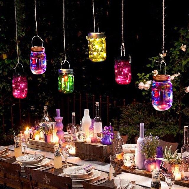 Thrisdar 3pcs/Lot Mason Jar Solar Garden Fairy Light With Mason Jar Lid  Outdoor Solar