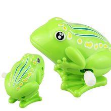 Детская милая зеленая игрушка-лягушка для детей, пластиковая Классическая заводная игрушка для свыше 3 лет детей