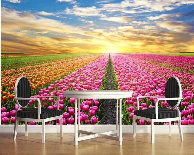 Custom natural scenery wallpaper,Sunrise and Flower,3D photo mural ...