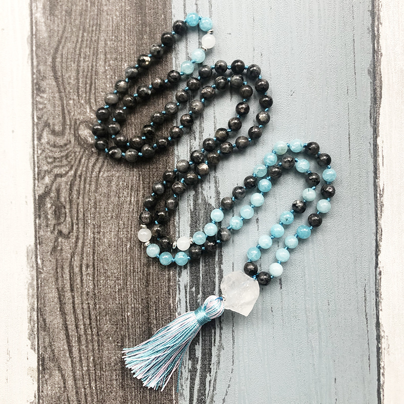 Labradorite Mala Beads 108 Necklace Blue Stone Mala Necklace Knotted Tassel Necklaces Yoga Meditation Beads Spiritual Boho|Chain Necklaces|   - AliExpress