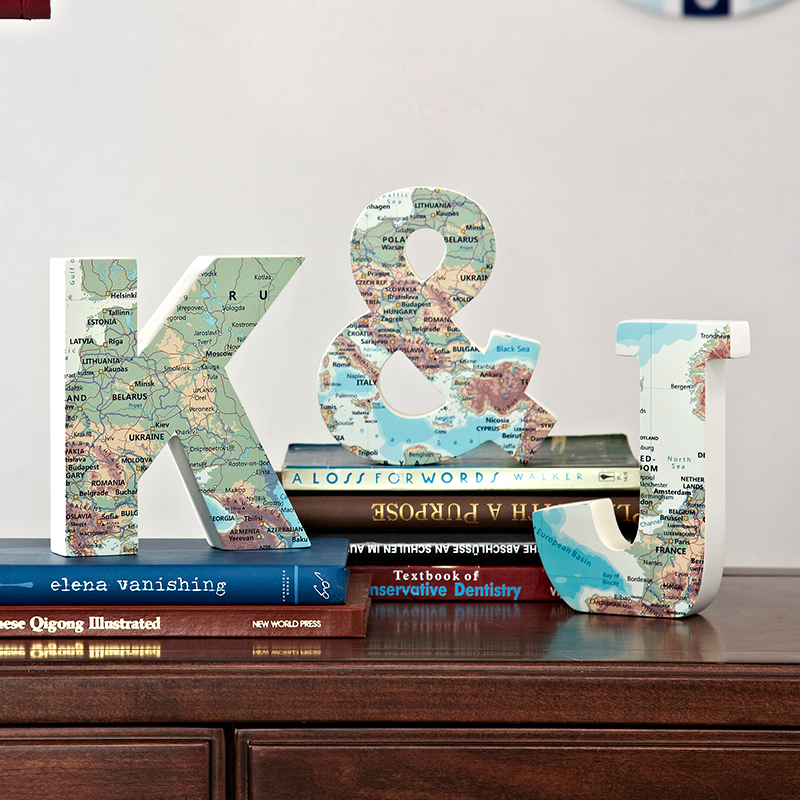 K&J Letter Map  Decoration Home Accessories Living Room Crafts Creative Wooden Children's Room Decoration European Simple Design