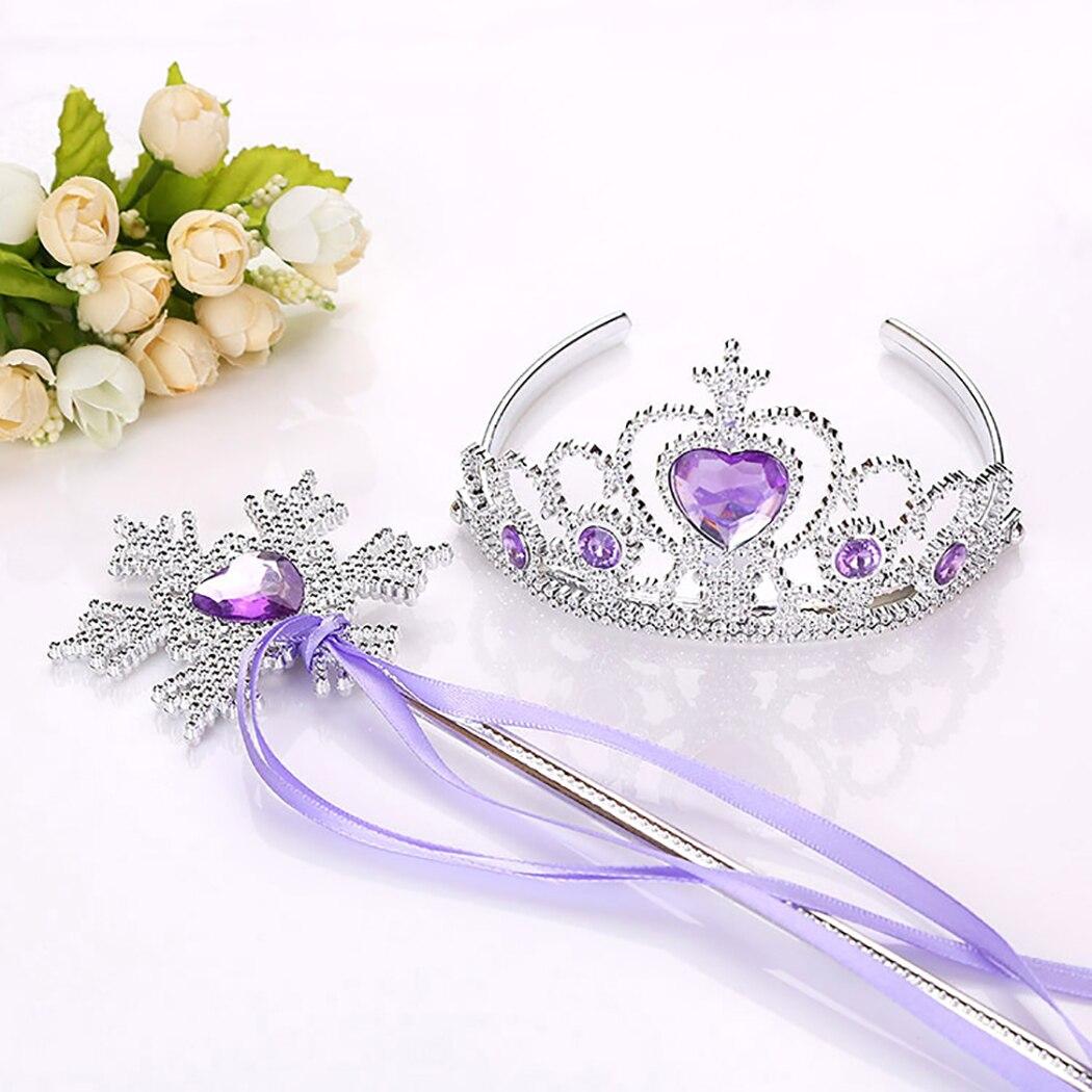 Fashion Shinning Princess Crown Hairbands Kids Girls Best Birthday Gift Jewelry Queen Diadem Children Hair Clip Magic Wand Sets