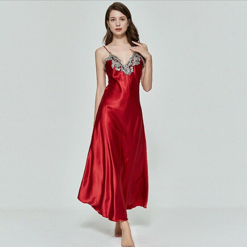 Sexy Women V-neck Satin Silk Lace Lingerie Back V Pajama Long Night Dress   Nightgown   Sleepwear