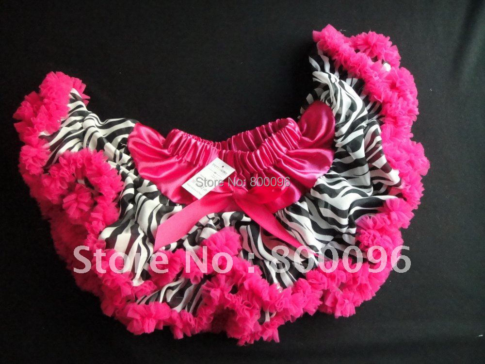 Hot Pink Tutus for Baby Girls with Bow Cute Baby zebra pettiskirts for Kids PETS-003
