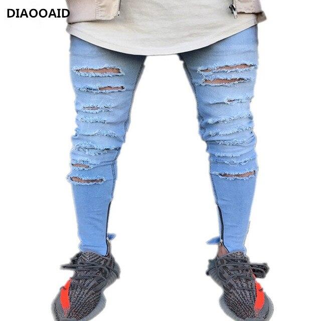 2017 Neue Marke Knie Loch Ripped Männer Skinny Jeans Mode Hip Hop Boden Zipper Stretch Denim Hosen Biker Motorrad Jeans