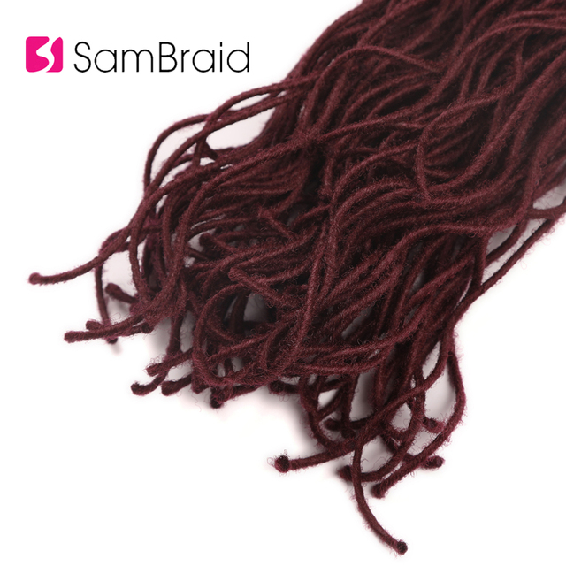 SAMBRAID Curly Faux Locs Crochet Hair 18+ Inch Crochet Braid Synthetic Braiding Hair Extensions Soft Locks 30 Roots/pack