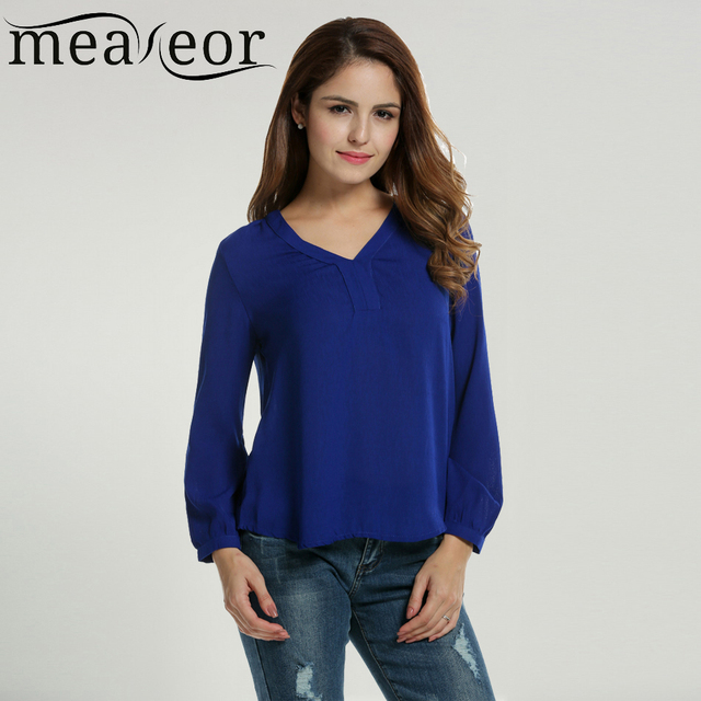 fdc02e5c5 Meaneor Women's Chiffon Blouse Shirt New Casual V-Neck Solid Loose Long  Sleeve High Low Hem Design Simple Stylish Top Blouse