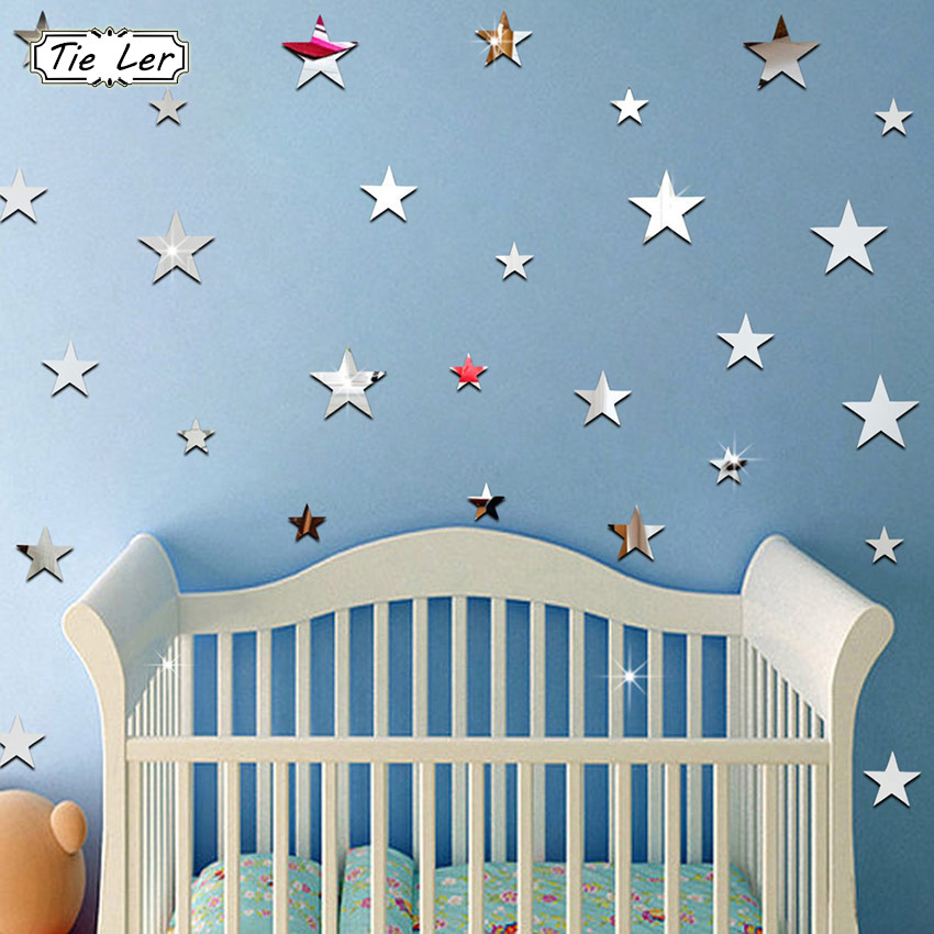 22PCS/Bag Sliver 3D Acrylic Wall Stickers Decorative Mirror Surface Wall Decal Star Shape Art Paper Home Office Decor