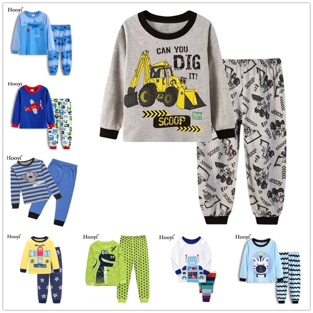 Digger Baby Boy Pajamas Clothes Suits Long Sleeve Cotton Children T-Shirts Trouser Pyjamas Set Kid Sleepwear 2 3 4 5 6 7 Years