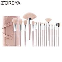 ZOREYA Brand 18pcs Cruelty Free Soft Synthetic Hair Makeup brushes Lip Eye Lash Cosmetic Tool Large Fan Makeup Blending Brush