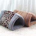 New Pet Beds Plaid Leopark Pattern 2 In 1 Dog Cat Sleeping Mats Playing Tunnels Warm Thick 90*55cm Animal Bags