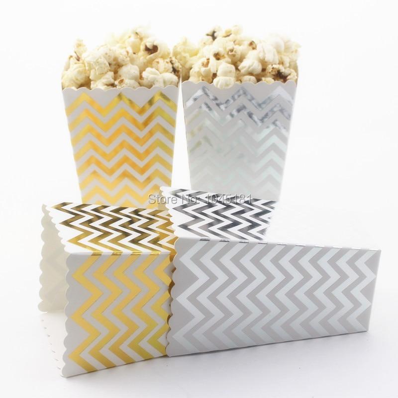 720pcs Foil Gold Silver Paper Popcorn Box for Weddding Polka dot ...