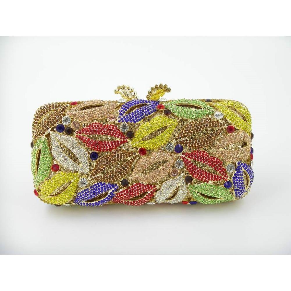 ФОТО 8279A LIPS Crystal Bridal Party Night Hollow Metal Evening purse clutch bag case box handbag