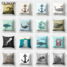 CUSCOV Marine animal polyester sofa cushion cover boat anchor whale picture wedding decoration household pillowcase chair pillow