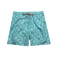 PP Bag Packaging Summer Casual Shorts Men Slim Fit Anchor Pattern Beach Plus Size Bottom Thigh