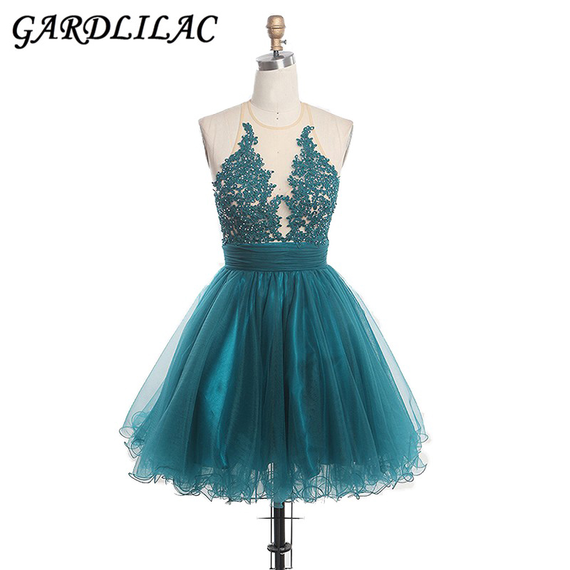 Gardlilac 2019 New Short Cocktail Homecoming Dresses Ball Gown A-Line Mini Prom Dress Wedding With Lace Appliques Beading