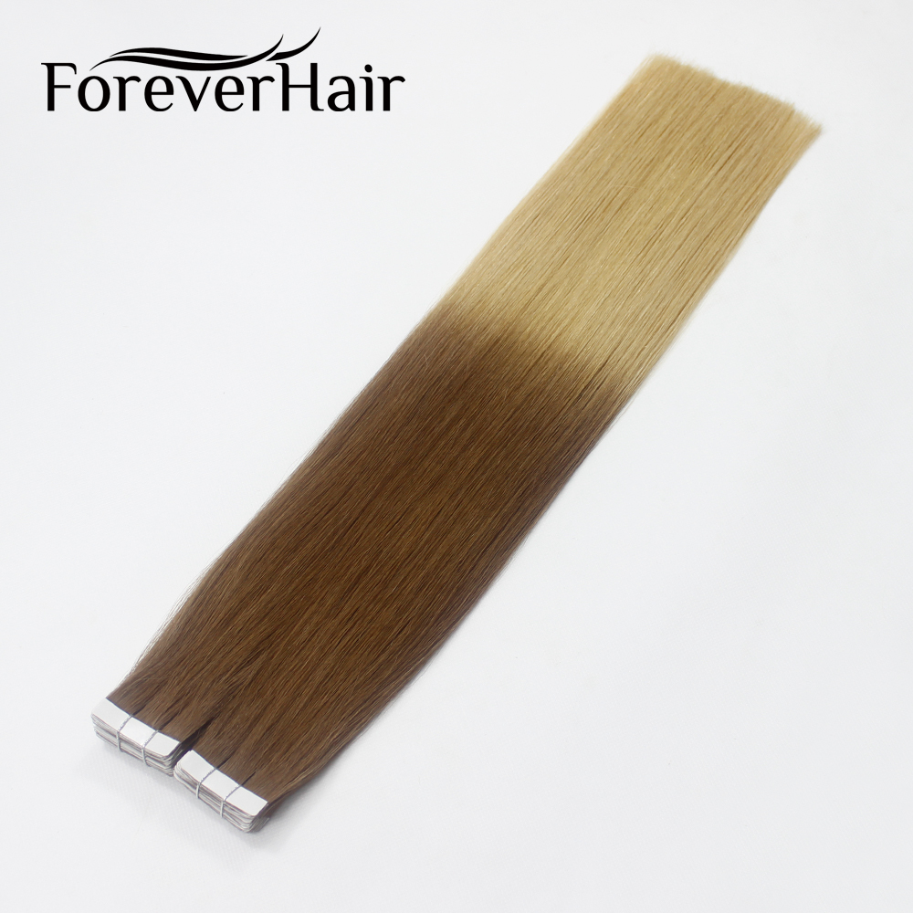 FOREVER HAIR Tape In 100% Real Remy Skin Weft Straight Hair 20pcs Hair Extension 40g Ombre Color T6/16 Tape Hair 16